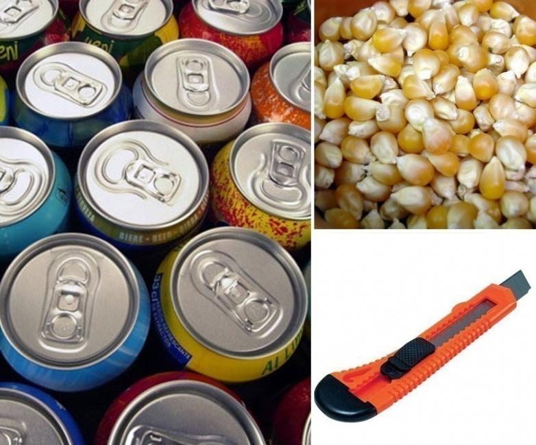 palomitas de maíz con una lata -materiales