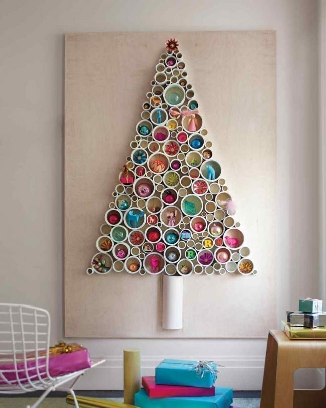 Árboles de Navidad para espacios pequeños - círculos pared