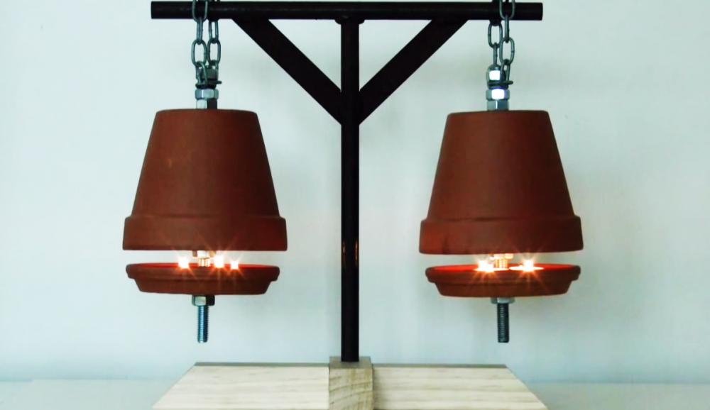 hacer calentador ecológico con macetas- calentador listo