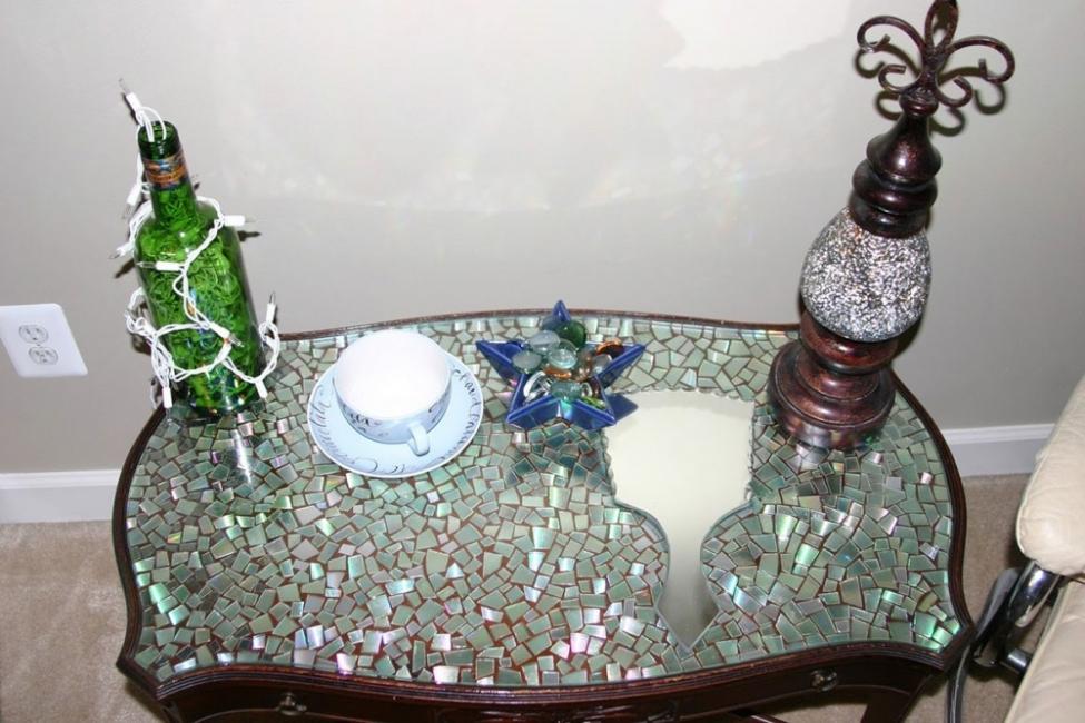 CDs reutilizados - mesa