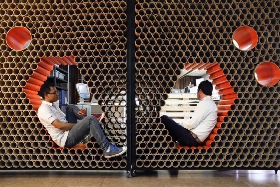 Tubos de cartón - muros de tubos de cartón