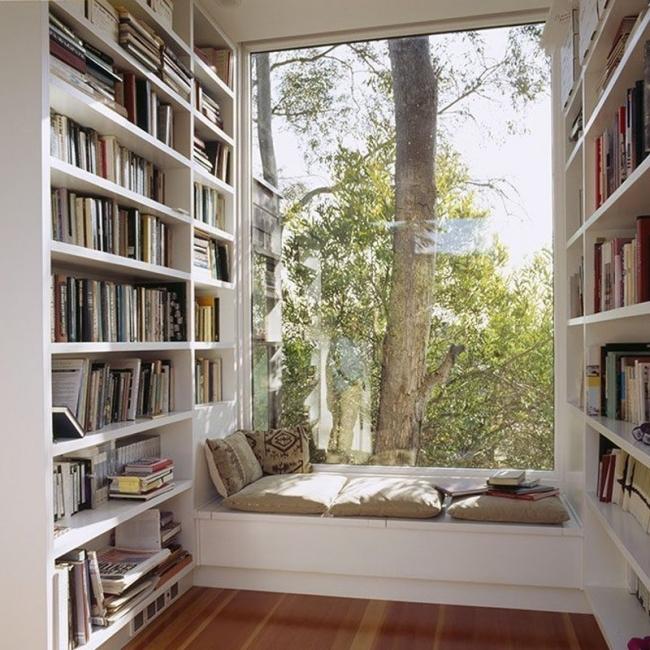 rincones en la ventana- rincón de lectura y biblioteca