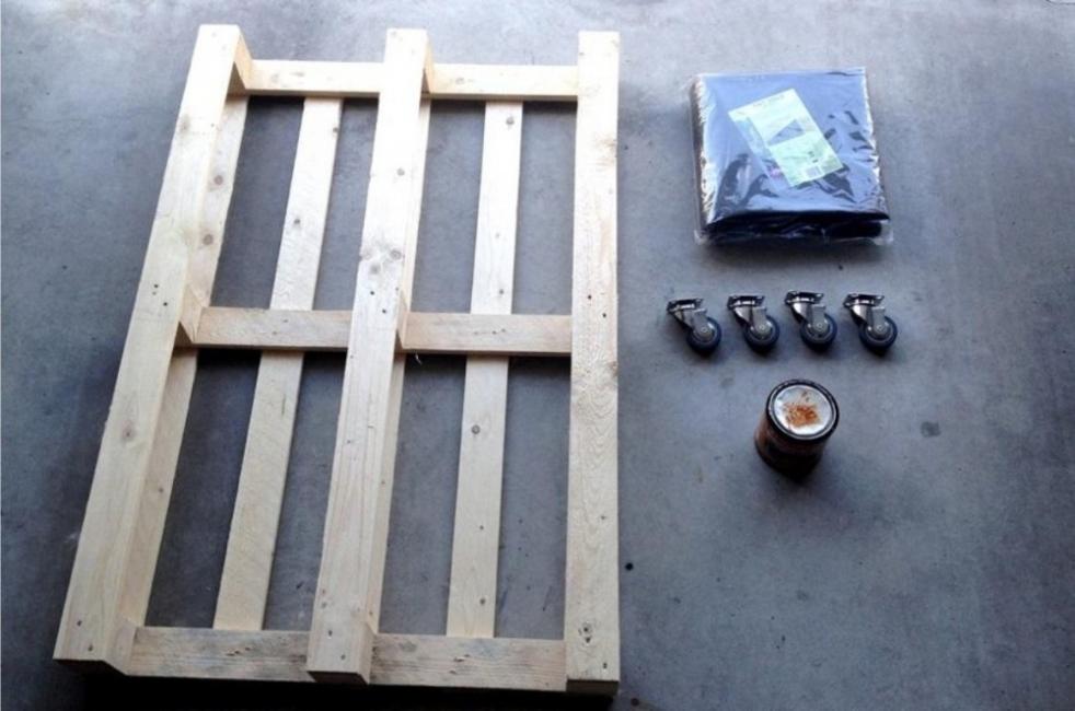 mesa de palet - maceta - materiales