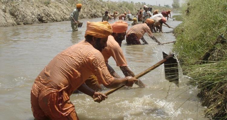 voluntarios de Sant Balbir Singh Seechewal limpiando el río