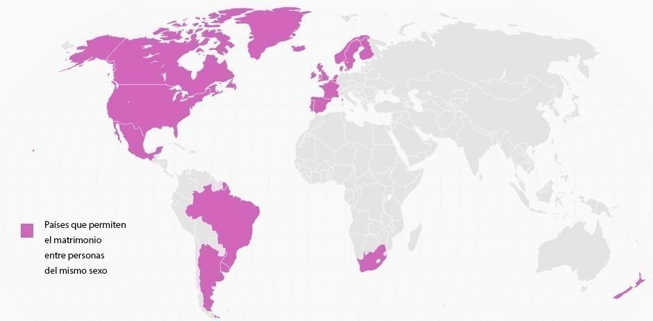 Matrimonio Igualitario - mapa de países que permiten el matrimonio entre personas del mismo sexo