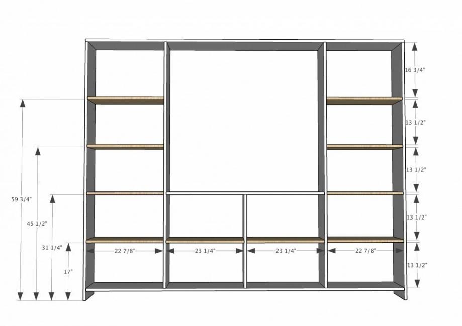 Mueble-estantería multifuncional con puertas corredizas - medidas