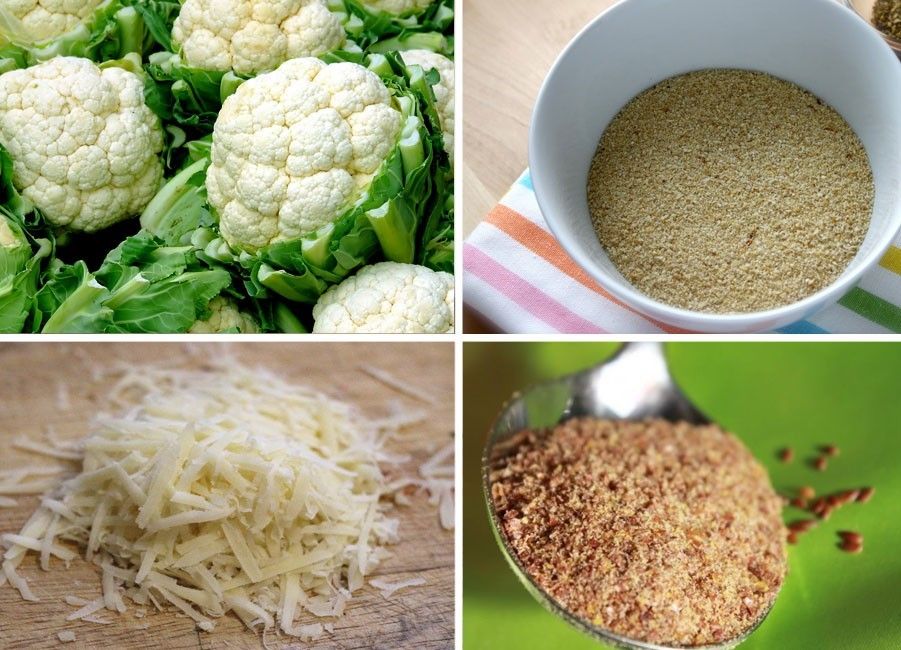 Ingredientes para preparar croquetas saludables de coliflor