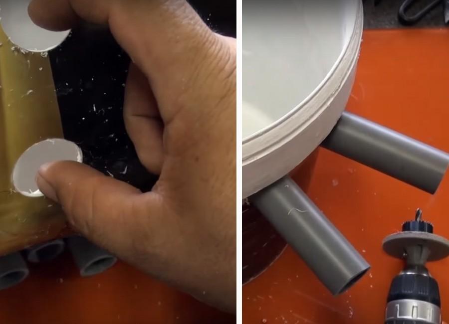 Aire acondicionado casero, reciclado y portátil - paso 4: perforar el bote de pintura