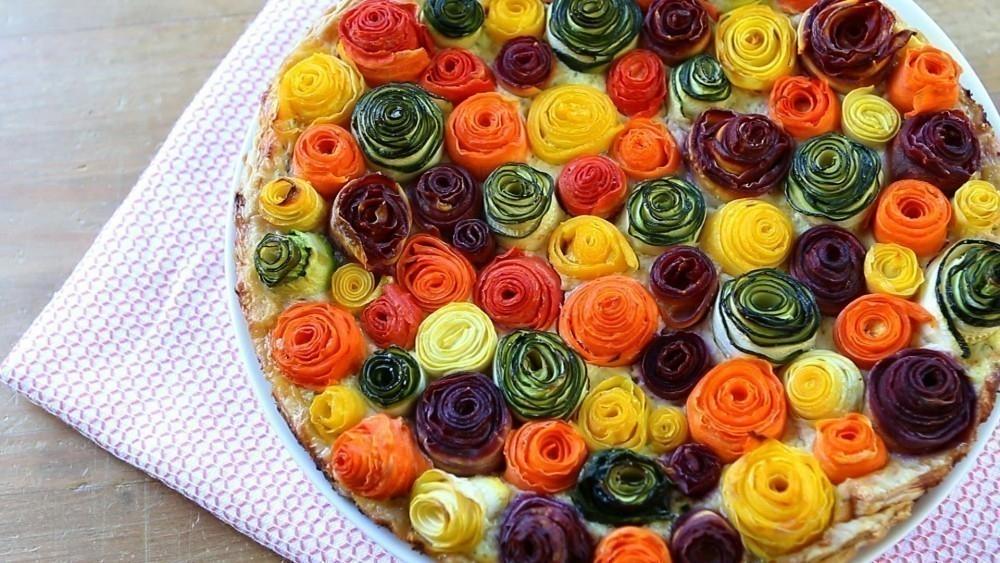 Tarta de vegetales que parecen rosas- terminada