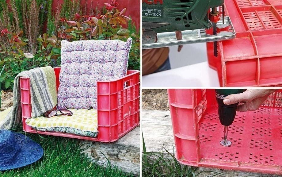 Muebles con cajones plásticos de cerveza - sillón