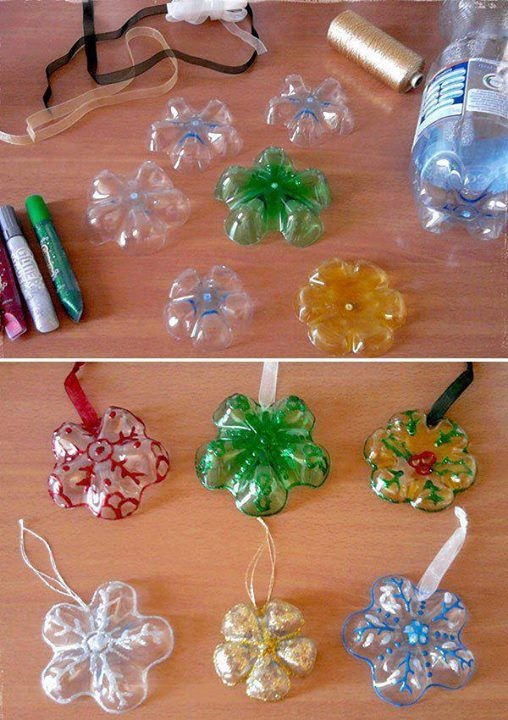 plastic-bottle-snowflake-ornaments