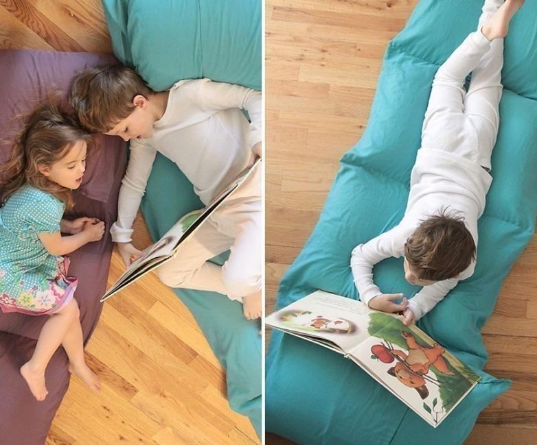 colchoneta casera con almohadas- terminada