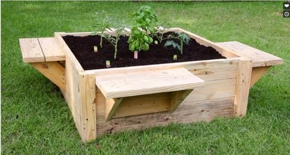 huerta elevada cama elevada para jardinería DIY- terminada