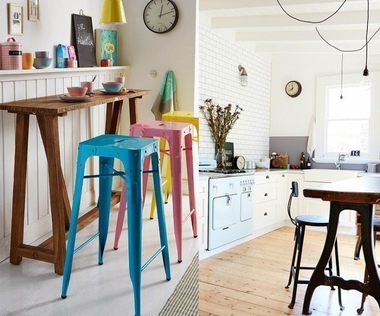12 ideas para armar una práctica barra en la cocina- barra de madera