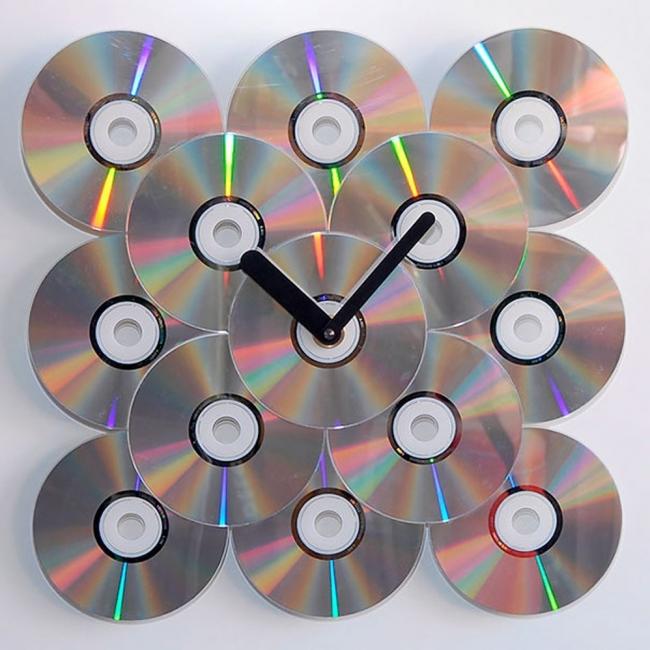 CDs reutilizados - reloj