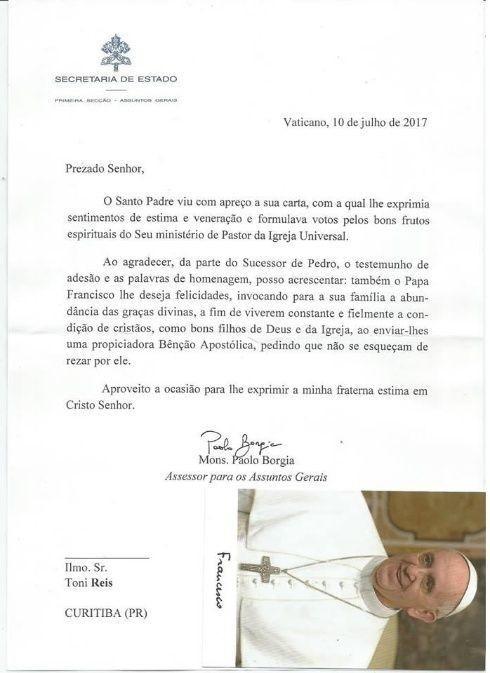 Carta enviada por Monseñor Borgia a pareja gay brasileña