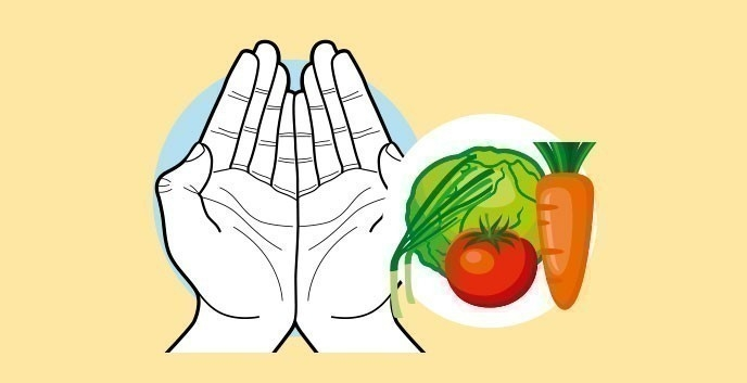 Cuánto comer según nuestras manos- verduras