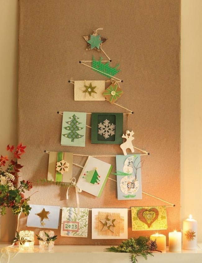 Árboles de Navidad para espacios pequeños -cuerdas y tarjetas