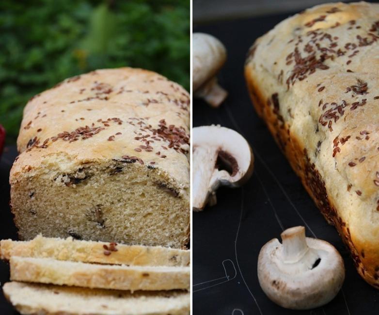 pan de champiñones y linaza
