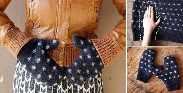 manoplas hechas con sweater viejo