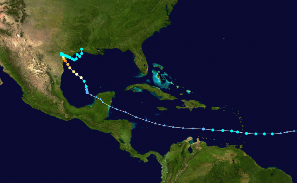 Trayectoria del Huracán Harvey