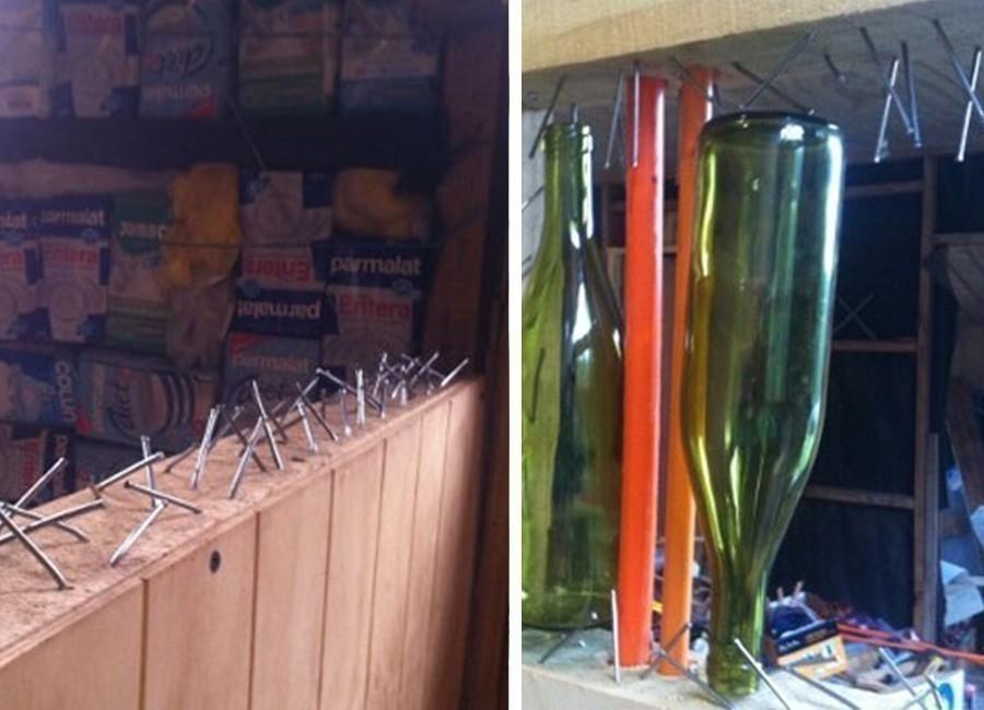 ventana con botellas de vidrio -procedimiento