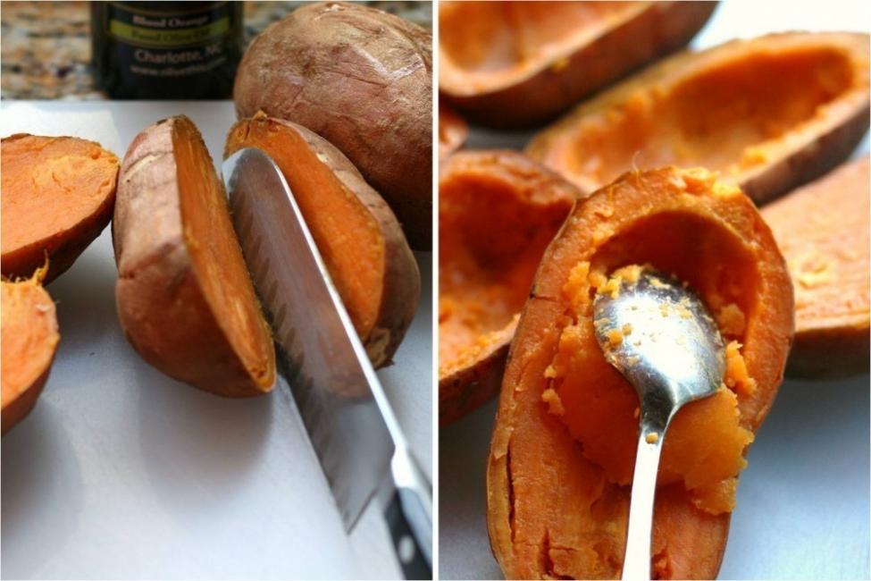 Camotes rellenos de hongos y vegetales - batata rellena