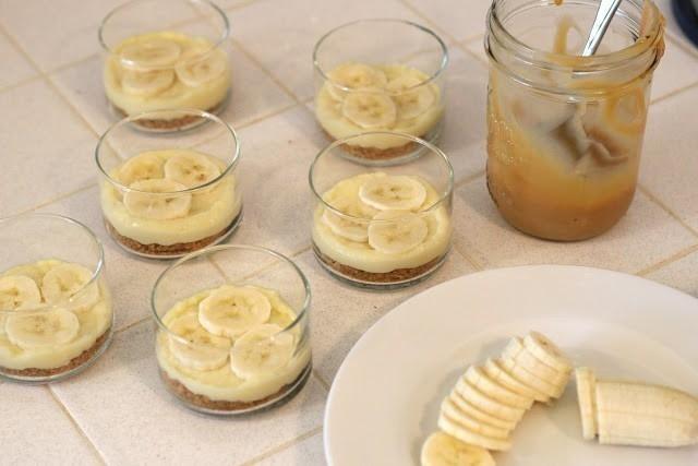 postre de banana listo