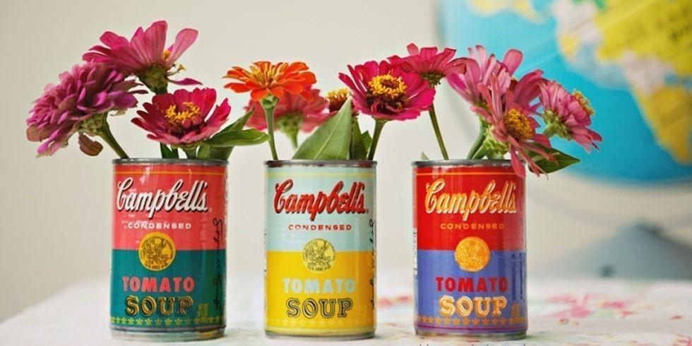 floreros con latas