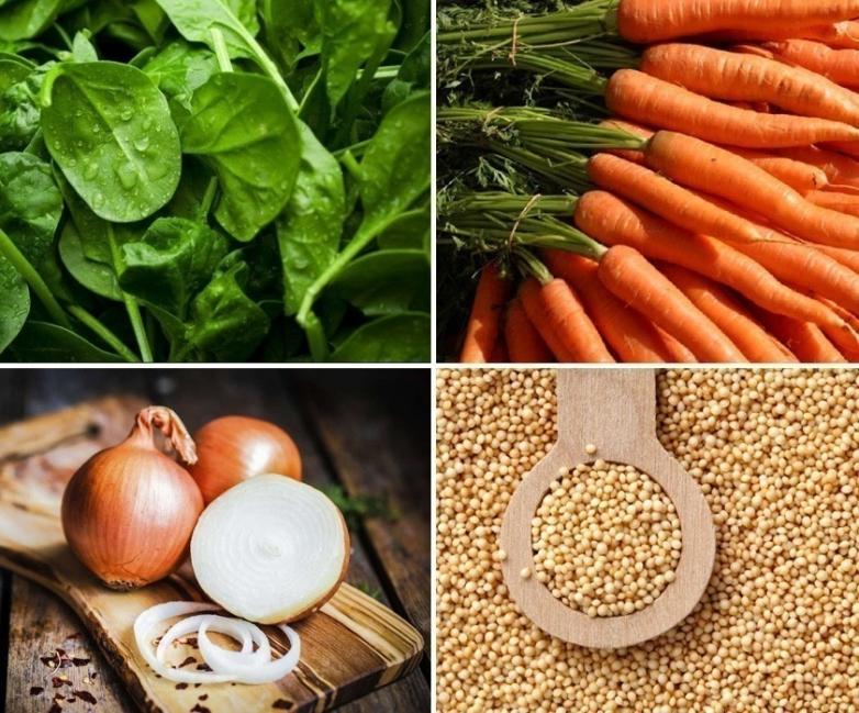Croquetas saludables de espinaca y amaranto- ingredientes