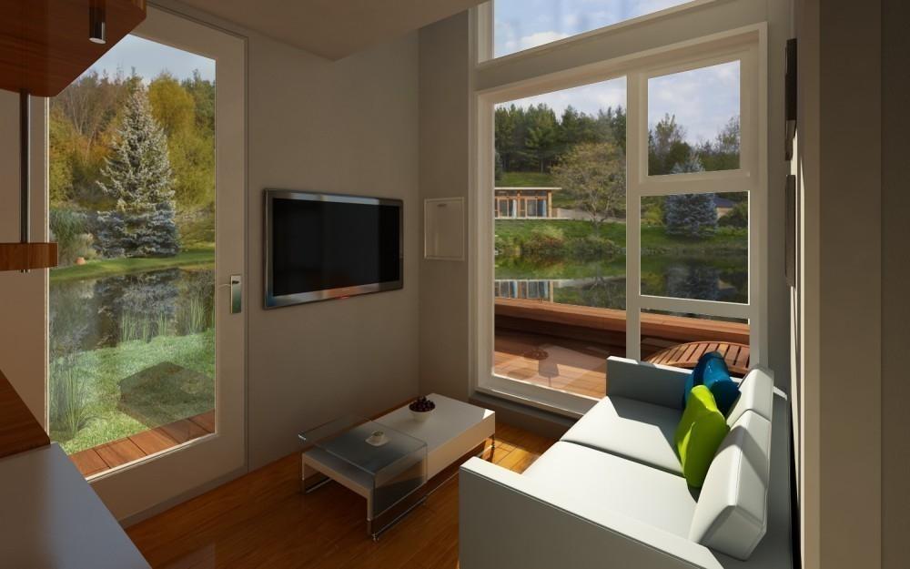 Una casita diminuta para dos, de construcción rápida y barata- sala y ventanas