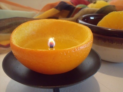 Usos de la cáscara de naranja - vela