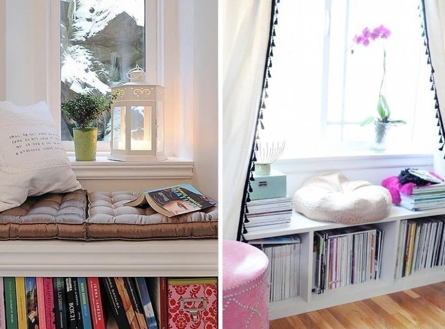 rincones en la ventana-rincón de lectura