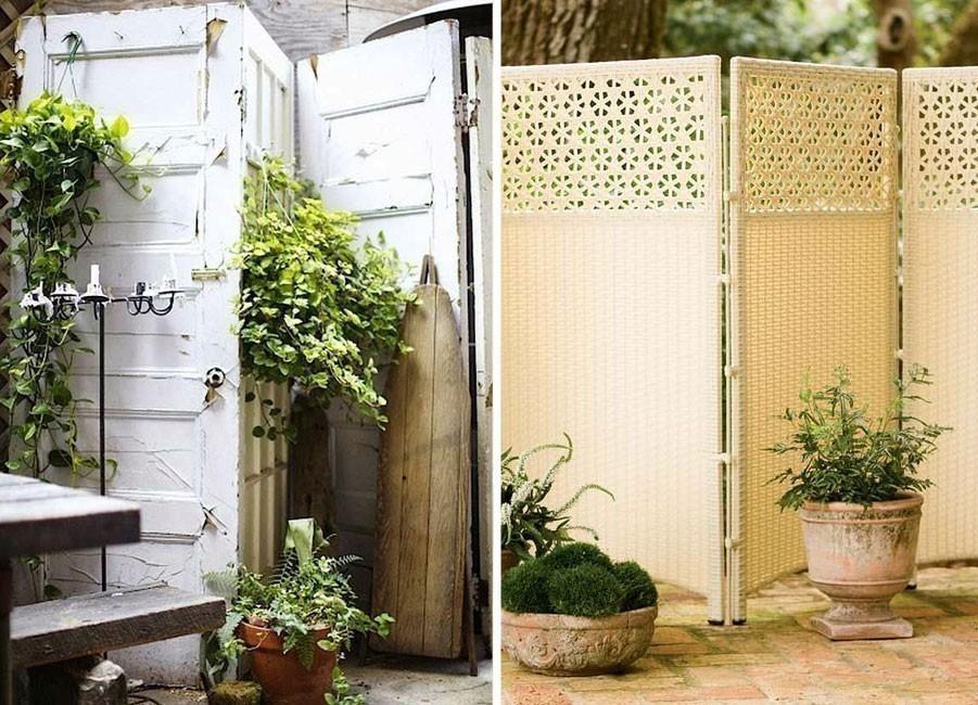 Ideas para crear divisiones verdes en tu jardín - reutilizar puertas viejas