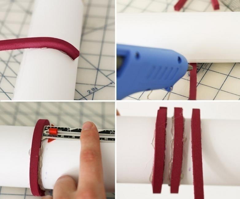 estampar una tela con un rodillo o palote de cocina- pegar- molde