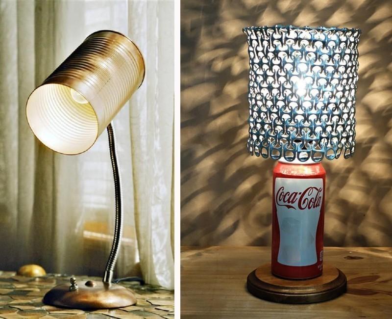 lámpara con una lata