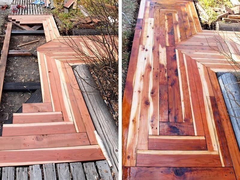 Cómo hacer caminos de madera reciclada para el patio o jardín- montaje