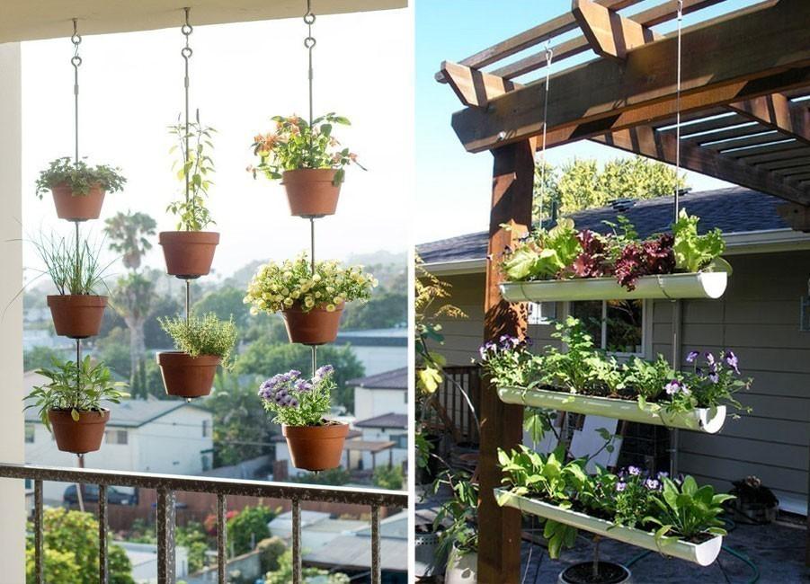 Ideas para crear divisiones verdes en tu jardín - maceteros colgantes