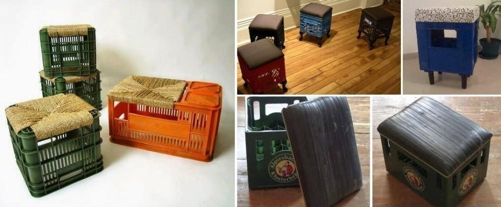 Muebles con cajones plásticos de cerveza - banquitos taburetes