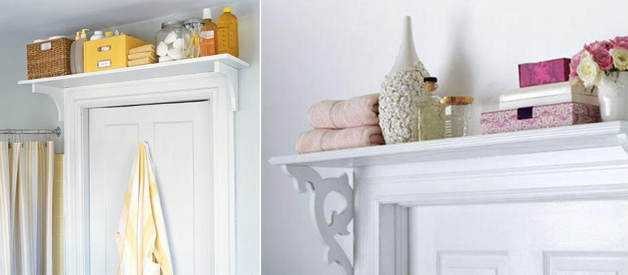 baños pequeños - estante sobre la puerta