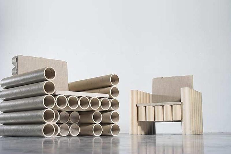 tubos de cartón - living - sillones
