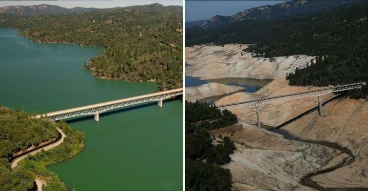 Lago Oroville, en California, en 2010 y en 2016.