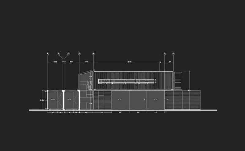 Casa en un contenedor de barco- plano