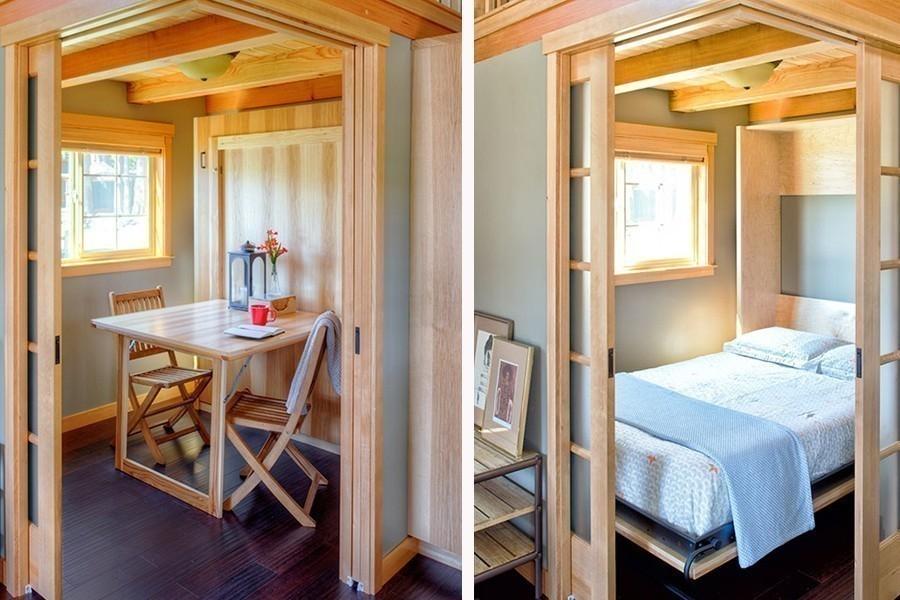 casa eficiente y multifuncional para vivir - comedor cama