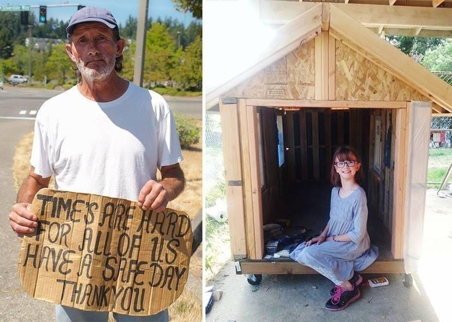 niña construye  casas sin hogar