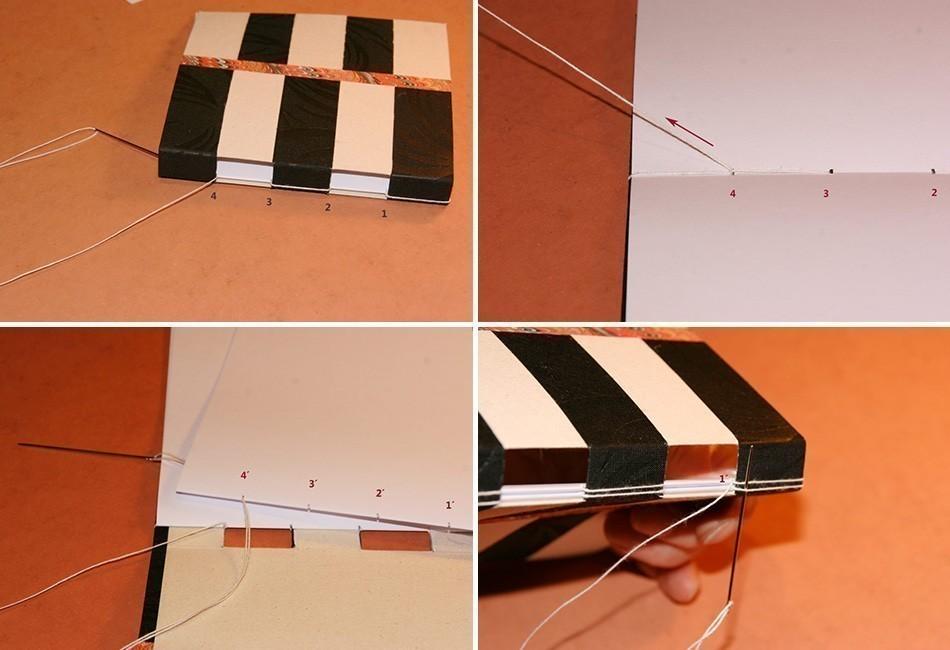 Cómo hacer un cuaderno con costura de ojal- coser lomo