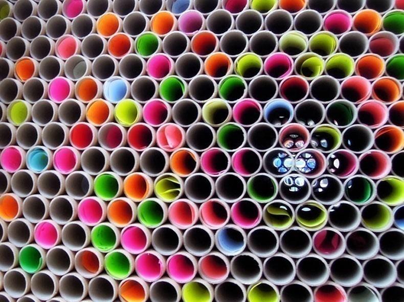 Tubos de cartón - muros de colores