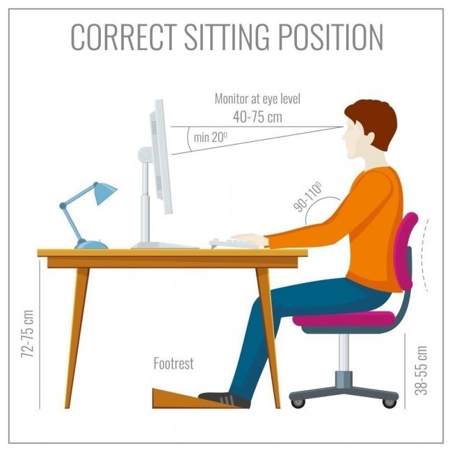 postura correcta frente a la computadora