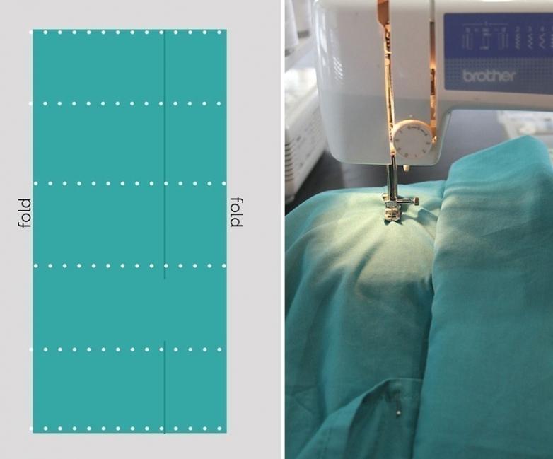 colchoneta casera con almohadas- marcar las costuras con alfileres