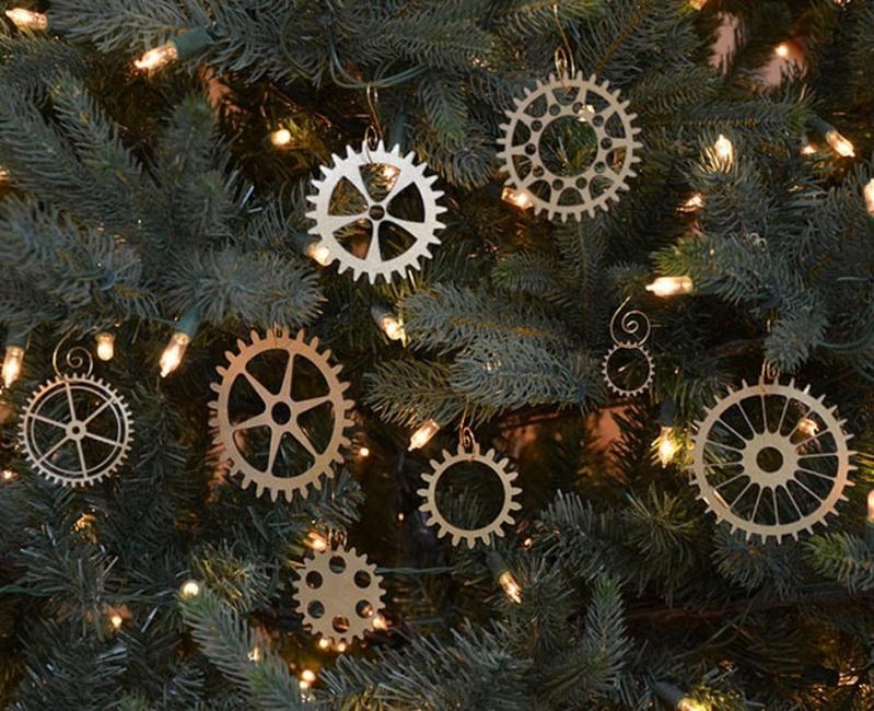 Adornos de navidad con engranajes